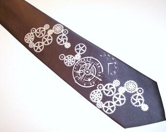 Necktie mens steampunk design Clock Works print to order custom colors