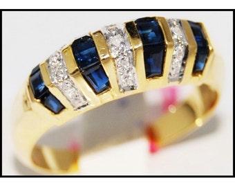 18K Yellow Gold Natural Diamond Gemstone Blue Sapphire Ring [RR035]