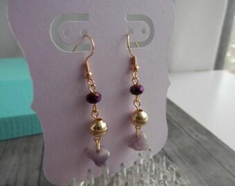 Boucles d'oreilles Boucles d'oreilles cristal métal et la pierre de ton violet et or