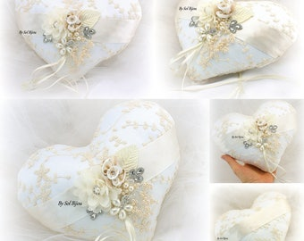 Wedding Ring Pillow, Heart Pillow, Ivory, Champagne, Vintage Wedding, Elegant Wedding, Lace Ring Pillow, Gatsby, Pearl Ring Pillow, Crystals