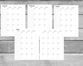Letter Size, Printable Monthly Planner Inserts on a 2 Page Layout