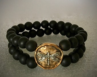 Matte Black Onyx Double Strand Copper Medallion Silver Dragonfly Bracelet Outlander JAMMF Wedding Groomsmen Gift for Men Boho Jewelry