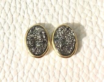 Gunmetal & Gold Oval Druzy Studs, 16mm druzy gold, gold earrings, druzy earrings, gold druzy, druzy jewelry, gold jewelry, stud earrings
