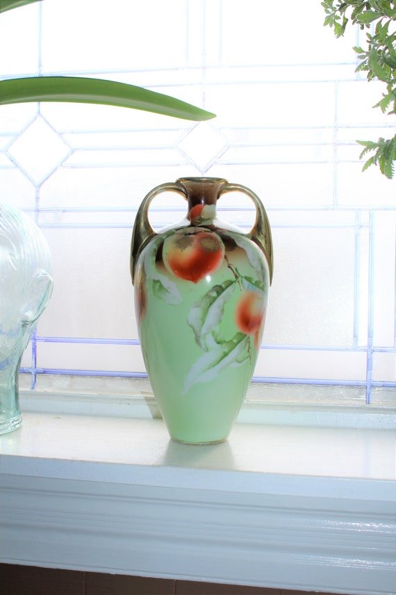 Antique Hand Painted Nippon Handled Vase Late 1800s Maple Leaf Mark