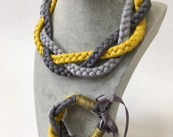 Braided linen necklace and bracelet - yellow and grey color