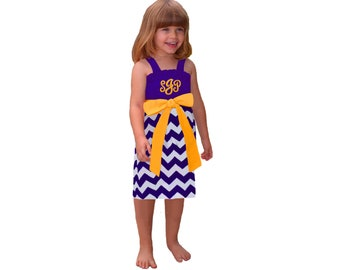 Purple + Bright Gold Chevron Dress- Girls