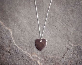 """Grey Ceramic Heart Pendant ~ Necklace ~ Jewellery ~ Handmade ~ Sterling Silver ~ 925 ~ 18"""" Chain ~ Gifts for Her"""