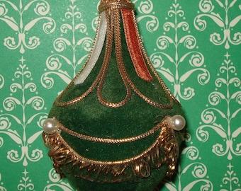 Vintage  Christmas Ornament, Handcrafted Teardrop, Green, Gold Trim  (622-10)