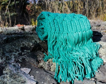 Mint Jellyfish Handmade Scarf, Acrylic Scarf, Vegan Scarf, Long Wrap, Woman Wrap With Fringe, Hand Knit Scarf Wrap, Soft And Cozy Scarf