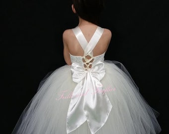 White, Ivory or Grey Flower Girl Corset Dress / Bridesmaid dress / Prom Dress / Simple Wedding Dress / Girls Dresses / Flower Girl Gift