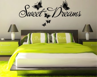 Sweet Dreams Butterflies Vinyl Art Home Walls Quote Decal Sticker Decoration