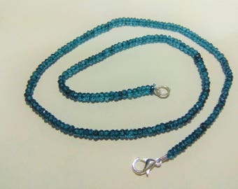 ON SALE -AAA Natural London Blue Topaz  3.5 to 4mm faceted rondelle Beads, blue topaz  necklaces, GemStone Necklaces Jewellery.