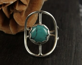 Turquoise ring - Sterling silver ring - Statement ring - Southwestern ring - Concho ring - Handmade