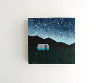 Mountain Camping Trip Painting - 4 x 4