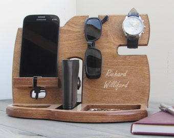 Desk Organizer Docking Station Charging Station Phone Stand Gifts for Dad Fathers Day Gift Mens birthday gift for husband Gift for Men tech