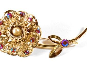 Vintage Goldtone Filigree Flower AB Red Rhinestone Brooch Signed Sarah Coventry * S558 HUGE * Price reduced!