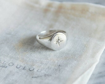 Signet Ring with Natural Diamond// Conflict Free