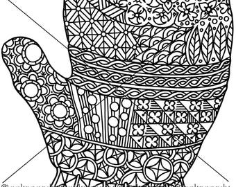 Mitten Zentangle Coloring Page