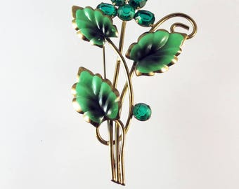 Retro 40s-50s Brooch, Green Rhinestones,  Floral Motif Brooch,  Brass Brooch w/Green Enamel