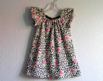 Little Girls Flannel Dress - Leopard Print and Roses Dress -  Flutter Sleeve Dress - Rockabilly Dress - Size 12m, 18m , 2T, 3T, 4T, or 5