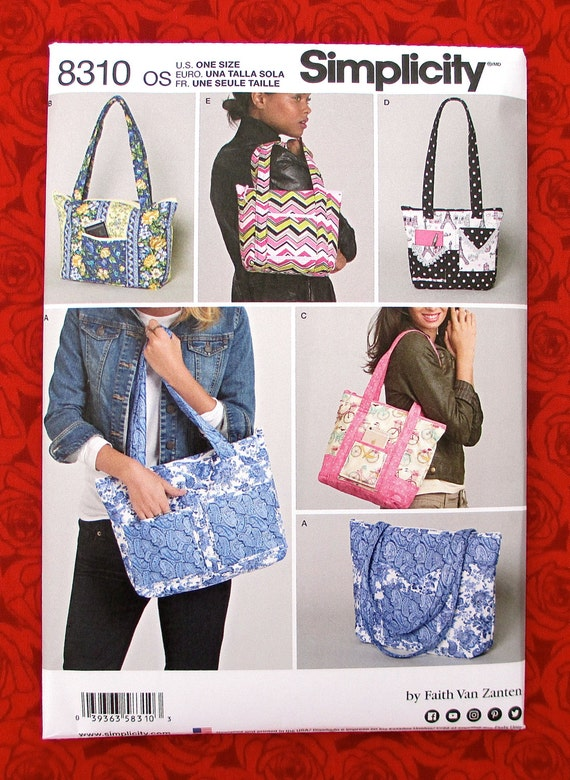Simplicity Sewing Pattern 8310 Quilted Bags Fashion Purse Travel