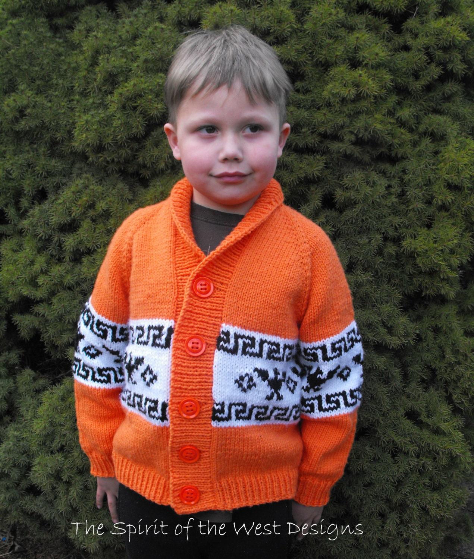 Knitting pattern Cowichan style T Bird Childrens Cardigan knit ...