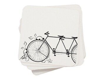Eco Coasters Bicycle Letterpress - Tandem Bike Recycled