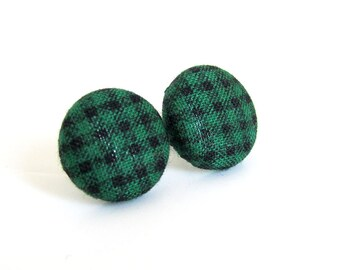 Green black gingham stud earrings - emerald fabric button earrings - plaid earrings - tartan studs - check pattern - elegant modern jewelry
