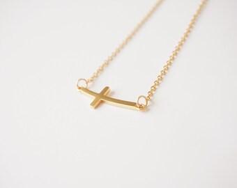 Catholic Sideways Cross Necklace, Catholic Jewelry, Catholic Gift for her, Catholic Cross Necklace, Catholic Necklace, Catholic Dainty Cross
