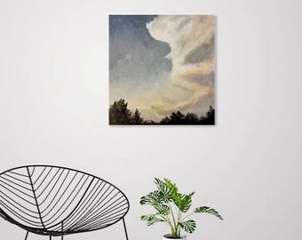 Stormy Clouds - Original Acrylic Landscape, Cloudscape, Sunset Painting - Grey, Blue, Black, and Tan