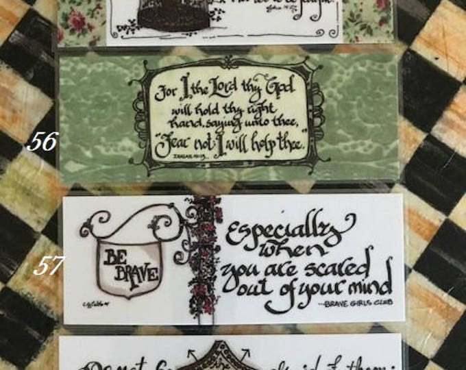 Scripture Bookmarks-Cindy Grubb_For His Glory-#55-58, John 14 27, Isaiah 41 13, Be Brave, Deuteronomy 3 22, Calligraphy, Religious