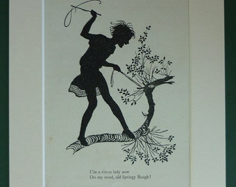 1920s Vintage Silhouette Print Of A Child Playing - Childhood Imagination - Antique Print - Circus Girl - Tree Horse - Adventure - Matted