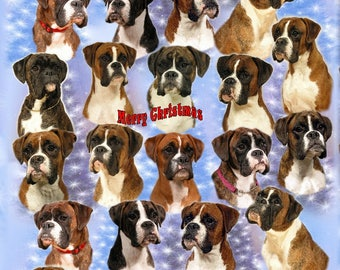 Boxer Dog Christmas Gift Wrapping Paper.