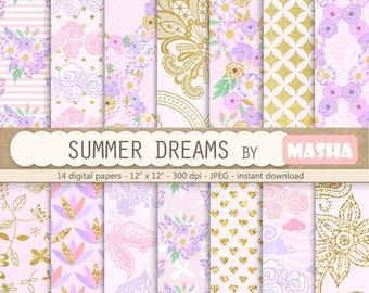 "Summer digital papers: ""SUMMER DREAMS"" with floral digital paper, gold pattern, cloud patterns, butterflies, 14 images, 300 dpi. JPG files"