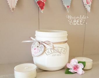 Handpainted and decorated Ivory Kilner Jar