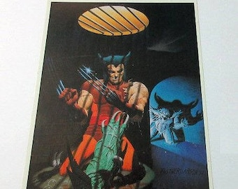 Rare vintage original 1983 Uncanny X-Men Wolverine 14 by 11 inch superhero poster pin-up 1: 1980's Marvel Comics Universe superheroes pinup