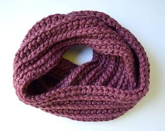 Chunky Crochet Cowl | READY TO SHIP | Handmade Infinity Scarf Wool Neckwarmer Purple