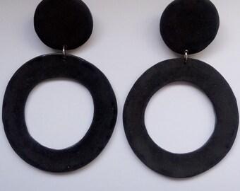 Geometric minimalist black maxi earrings