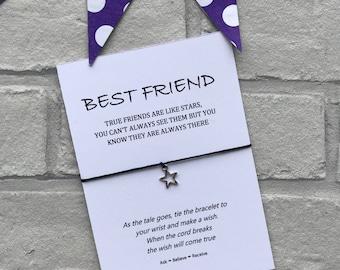 """Best Friends Friendship BFF Wish Charm Bracelet """"True Friends are like Stars"""" gift"""