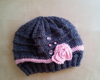 Wool little girl on needle and hook with embroidered pink-elegant romantic-girl wool hat