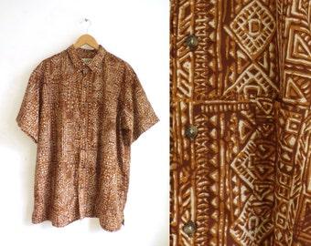 90s mens hawaiian shirt size xl, brown tribal southwestern shirt, 1990s mens button down shirt, short sleeve mens shirt