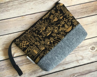 Rifle Paper Co Makeup Bag, Cosmetic Bag, Cotton and Steel, Wonderland Fabric, Gold Makeup Bag, Metallic Fabric, Waterproof Lining