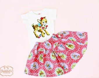 Deer Outfit Girl - Sister Retro Kawaii Outfit - Infant Tee Skirt - Girls Pink Deer Outfit - 6 month to 12y - Vintage Party Girl Skirt Retro