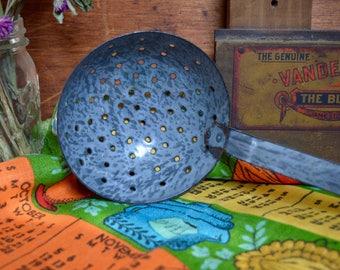 Vintage Rustic Speckled Gray Enamel Ladle Strainer Enamelware