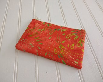 Coin Purse - Orange Batik Splash