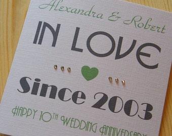 Wedding Anniversary Handmade Personalised Card - In Love Since