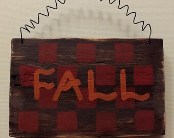 Fall Wood Sign Distressed Red Check