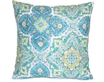 Blue and Green Geometric Design Pillow Cover, Waverly Fabric, 18 X 18 Inches