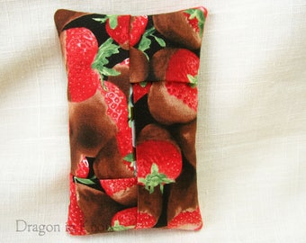 Chocolate-covered Strawberries Pocket Tissue Holder - travel cover for To Go Facial Tissue Packets, photorealistic cotton accessory