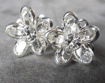 Crystal Bridal Earrings, Rhinestone Stud Earrings, Flower Post Earrings, Swarovski Crystal Silver Bridal Jewelry